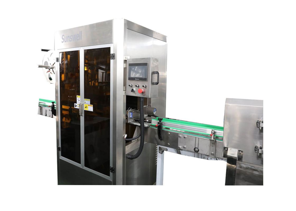 PVC Heat Shrink Sleeve Labeling Machine For Beverage Bottle With Shrink Tunnel