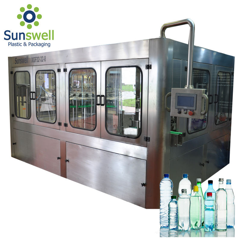 14 Heads Rotary Drinking Water Rinsing Filling Capping And Labeling Product Line